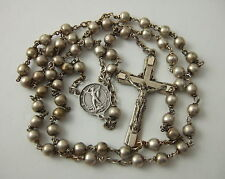 Vintage Catholic Rosary St. Michael center medal silver finish metal beads 5mm