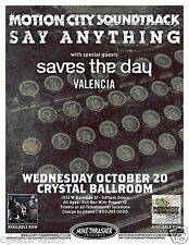 MOTION CITY SOUNDTRACK /SAY ANYTHING /SAVES THE DAY 2010 PORTLAND CONCERT POSTER