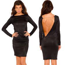 Damen Kleid knielang Cut out Kette Party Rollenspiel Gothik S 34 36 schwarz sexy