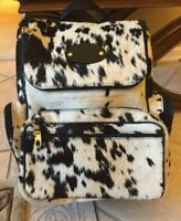 black n white cowhide leather backpack. custom design handmade bag