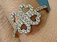 14k SOLID REAL GOLD Ring clover good luck Heart Yellow manmad diamond 7 6 8