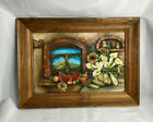 Mexican Sand Art 3D Vtg Painting Southwestern Rustic Scene In Wood Frame 31X23