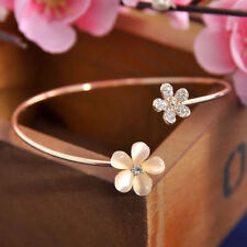 Women's Fashion Flower Crystal Gold Plated Cuff Bracelet Bangle Charm Jewelry