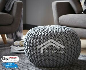 100% COTTON LARGE 50CM MOROCCAN KNITTED POUFFE CHUNKY KNIT FOOT STOOL CUSHION