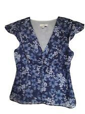 Ann Taylor LOFT Blue Floral Sleeveless V-Neck Tank Top  Sz 12