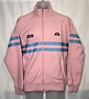 NWT ELLESSE Men's Rimini Full Zip Track Jacket PINK BLUE Size M Medium MSRP $95