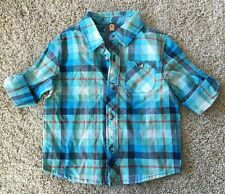 NWT Cherokee Toddler Boy's Blue Plaid Button Up Top 18 Months