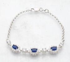"7.25"" Blue Sapphire Clear Zircon CZ Tennis Bracelet Real Solid Sterling Silver"