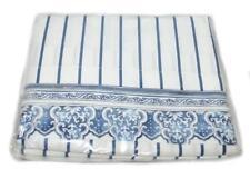 RALPH LAUREN Palm Harbor Stripe FULL FLAT SHEET NEW Porcelain Blue White