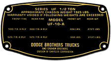 Dodge Brothers Truck data plate acid etched brass 1920s - 1930s