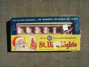VINTAGE 1950'S ST. NICK PINK CHRISTMAS TREE LIGHTS WITH BOX