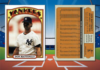 1972 Topps Style DON MATTINGLY Custom Artist Novelty MLB Baseball Card