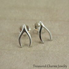 Wishbone Post Earrings - 925 Sterling Silver - Thanksgiving Lucky Earring Studs