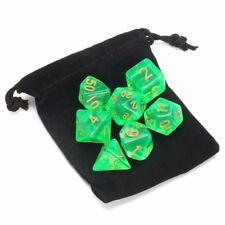 7 Piece Polyhedral Set Cloud Drop Translucent Teal RPG DnD With Dice Bag Acrylic