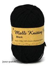 3 x 100g - Malli 8ply Acrylic Knitting and Crochet Yarn - Black Machine Washable