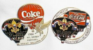 2  BOY SCOUTS of AMERICA Pins /Coca Cola/ Ballooning ~Kentucky Derby 1986 Coke