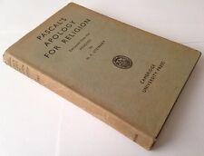 Pascal's Apology For Religion, Stewart, H. F., Vintage Hardback 1948
