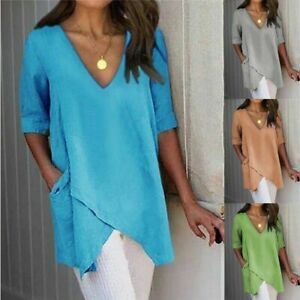 Summer Womens V Neck Half Sleeve Blouse T Shirt Ladies Holiday Casual Tops Tee