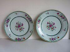 Paire d' Assiette Porcelaine Chine Période Rose 18eme COMPAGNIE DES INDES XVIIIe
