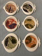 New listing 6 Vintage Sunny Barware White Plastic Angel Fish Coasters Patterned Liner