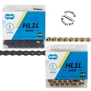 """KMC HL1L Wide 1/8"""" Half Link Chain GOLD or BLACK Fixie BMX Track Bike fit HL710L"""