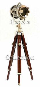 Nautical Wooden Chrome Spotlight Tripod Floor Lamp Marine Searchlight Home Decor