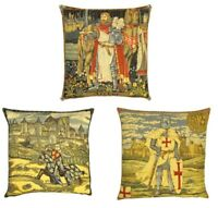 "GOBELIN TEMPLAR KNIGHT KING ARTHUR BELGIAN TAPESTRY CUSHION COVERS 19"" x 19"""
