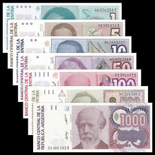 Argentina 7 PCS (1985-1990),1 5 10 50 100 500 1000 Australes,UNC
