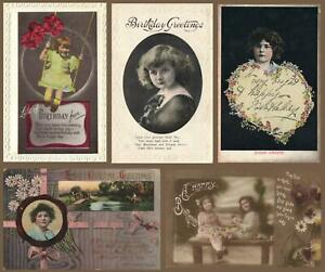 EARLY 1900's 5 x VINTAGE GORGEOUS GIRLS POSTCARDS - ALL ONLY FAIR Cond!!!