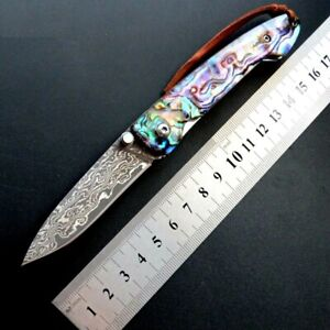 Drop Point Folding Knife Pocket Hunting Survival Tactical Damascus Steel Shell S