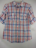 Croft & Barrow Womens Small 1/2 Rolled Sleeve Button Front Blouse NWT $36