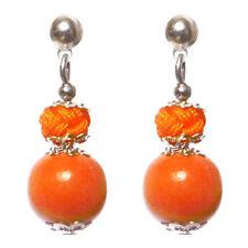 Boucles D'oreilles femme clou argentés pendantes Bois boule de fils Orange vif