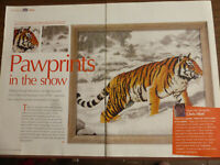 X Stitch Chart Pawprints in the Snow Tiger Exclusive from DMC Chris Hiett (Z2)