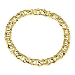 Men's Mariner Curb Link  Bracelet 14k Solid Yellow Gold Handmade 20.9 Gr 7.5 mm