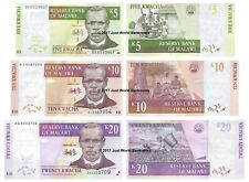 Malawi 5 + 10 + 20 Kwacha Set of 3 Banknotes 3 PCS UNC
