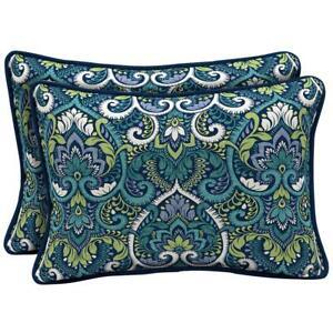 22 x 15 Sapphire Aurora Damask Reversible Oversized Lumbar Outdoor Throw Pillow