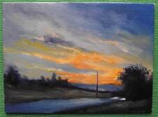 Golden Threads Sky :  Daily Impressionist Original Oil Painting by Terry P Wylde