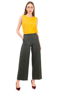 RRP €870 KHAITE Flat Front Trousers Size 6 / M High Waist Zip Fly Wide Leg