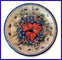 "Boleslawiec Polish Pottery Unikat Dinner Plate 10.5"" ""Wild Roses"""