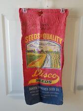 "Vintage ""DISCO SEEDS"" Dakota SEED CO.,Emmetsburg Iowa;1 BU Cloth Bag"