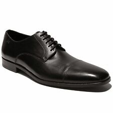 HUGO BOSS Formal Black Oxford Leather Cap Toe Dress Shoes 9 42 Mens Casual Derby