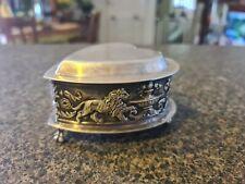 Antique James Dixon & Sons Heart Shape Trinket Box Jewellery Box With Lion...