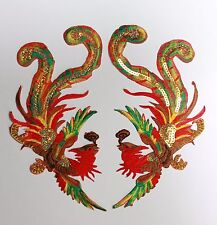 Grand Phoenix Patches Applique Patch Motif Iron On Sew On Bird Peacock (vert)