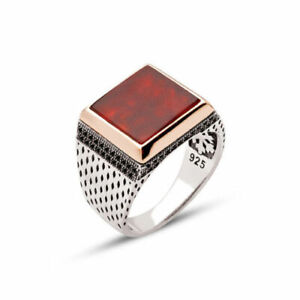 Solid 925 Sterling Silver Carnelian Gemstone Mens Signet Ring Jewelry