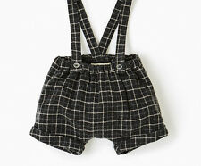 ZARA BABY PLAID CHECK DARK GRAY BERMUDA SHORTS W/ BRACES Size 1-3 Months / 62cm