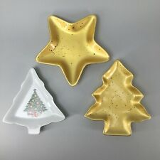 Set of 3 Vintage Christmas Tree and Gold Star Plates - Excellent Used Condition
