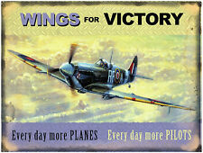 New 15x20cm Spitfire, Wings For Victory small metal advertising wall sign