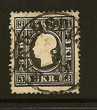 AUSTRIA : 1859 3K black Type II SG 23 used