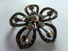 VINTAGE STYLE HEMATITE BEADS ON RHODIUM FLOWER BROOCH 6CM (2.5INCH) new boxed