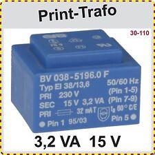 Print Trafo EI 38/13,6, 3,2 VA, 15V